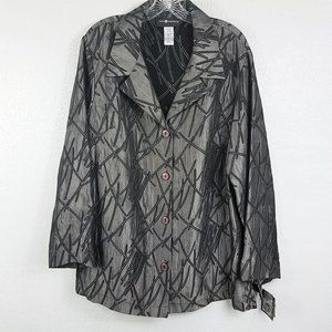 Sag Harbor Womens Silver Embroidered Button Jacket